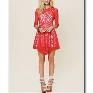 Free People Red Floral Mesh Lace Mini Dress